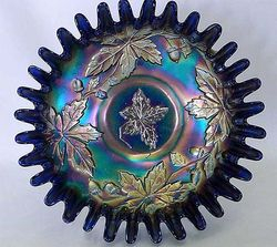 Autumn Acorns, candy ribbon edge bowl, blue
