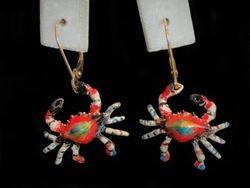 Crab Enamel Earrings