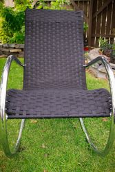 Front View of Black Shaker Tape Rocking Chair