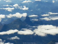 Clouds and mountains seen on a flight