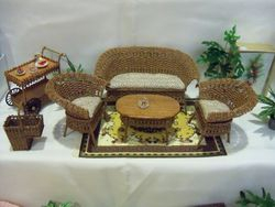 Tan stain wicker set