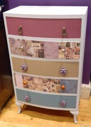 Decoupaged and painted drawers