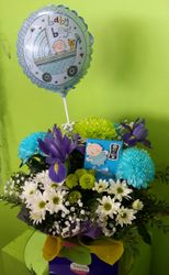 Mixed flowers with Baby Boy Balloons