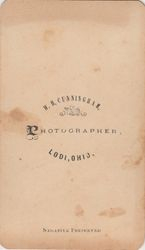 W. H. Cunningham, photographer, Lodi, OH - back