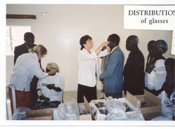 Dispensing Glasses at Clinic in Zambia