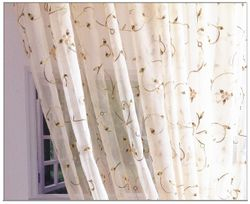 Sheer Leaf Embroidered Organza Curtains & Panels