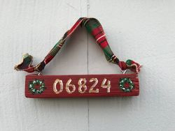 Mini zip code wooden sign ornament