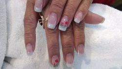 Stamped Nail Art over Pink and Whites