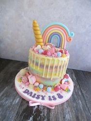 Rainbow and Unicorn drip cake