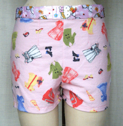 pink print shorts with Hello Kitty