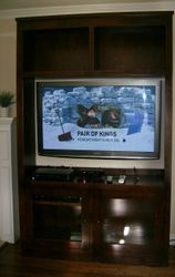Panasonic Plasma TV Mounted in Antique Cabinet with swivel Wall mount