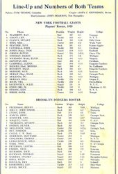 1933 N.Y. Giants vs. Brooklyn Dodgers Line-up Card