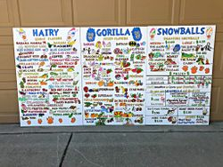 Hairy Gorilla Snowballs Menu