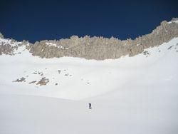 Climber below Ruby Wall