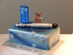 Dr Who Screwdriver Cake, Police Box and Dalek Cake