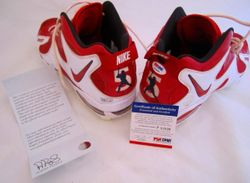 ALBERT PUJOLS 2010 2011 SIGNED GAME USED NIKE CLEATS, ST LOUIS CARDINALS FULL PUJOLS LOA, MLB HOLO, PSA