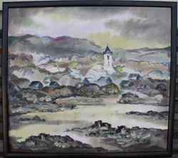 Pranciskus Porutis. Drobe, aliejus. Miestelio prie upes panorama. Kaina 520