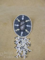 Beaded River Stone Brooch with Branch Fringe