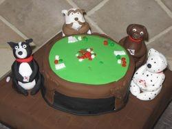 Dogs Playing Poker Cake