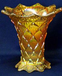 "Lined Lattice, 5"" squatty vase marigold"