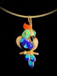 14k yellow gold diamond low stripe malicite,lapis, opal, coral, onyx, & emerald parrot pendant