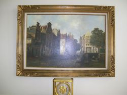 FRAMED HAND SIGNED ANTIQUE OIL ON CANVAS