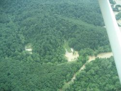 Aerial view of flood damage (A)