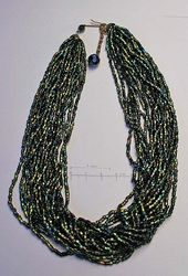 multi strand necklace, with dark green iridescence