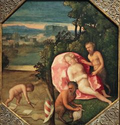 Venetian, Allegory with a Satyr Uncovering a Sleeping Nymph, c. 1530, National Gallery, Washington, DC