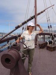 Ann 'helming' the replica Pinta