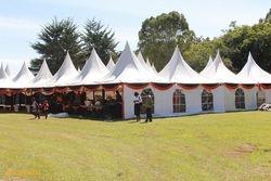 dome like tents set up