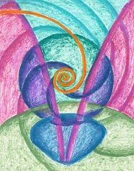 Fold Upon Fold Mandala, Oil Pastel, 11x14, Original Sold
