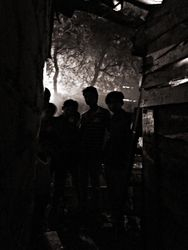 36 Boys in Sanjay Camp slum, Delhi, alongside the railway line.  In the evening, many people get drunk on cheap liquor, making the slums a volatile and violent place