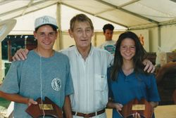 Lew Hoad Presenting Shellee and Derek their u/16 doubles Trophies