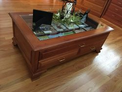 Glass top coffee table w/drawers-Cherry