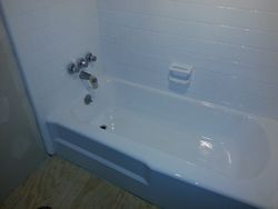 Teal Tile & Tan Tub After