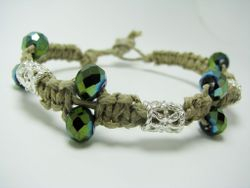 Greenish Faceted glass beads