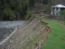 Destroyed river bed in Lentekhi area