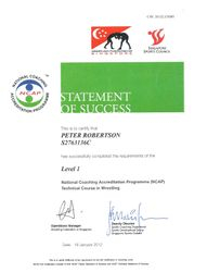 Singapore Sports Council Wrestling Coaches Accreditation Certificate