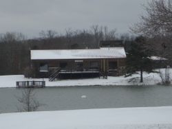 Rare snow day on the Lakeveiw Lodge