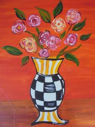 Checkered Vase with Flowers