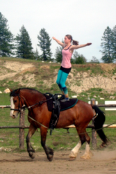 May: Training in Spokane, Washington, USA - Robyn practicing the Stand on Lady Mae