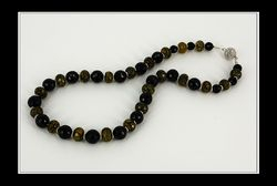 Yellow Cracked Agate, Black Agate & Sterling Silver