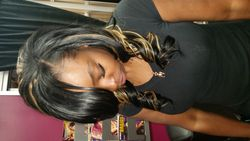 Natural sew in with curls
