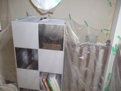 Preparation Tarp and Clear plastic over furnitures