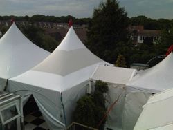 6x9m sky roof marquee with 3x3m entrance marquee and joining walkways
