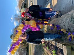 Balloon arch destruction after race