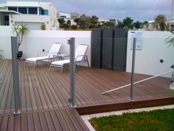 Semi frameless glass pool fencing with glass pool gate