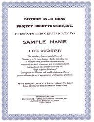 Life Member Certificate (Part 2 of 2:Life Membership $100.00)