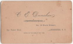 C. E. Dunshee, photographer, Rochester, NY - back